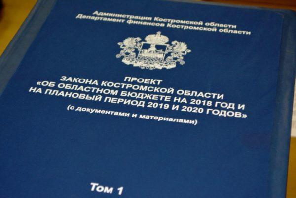 В Костромскую областную Думу внесен проект бюджета на 2018 год