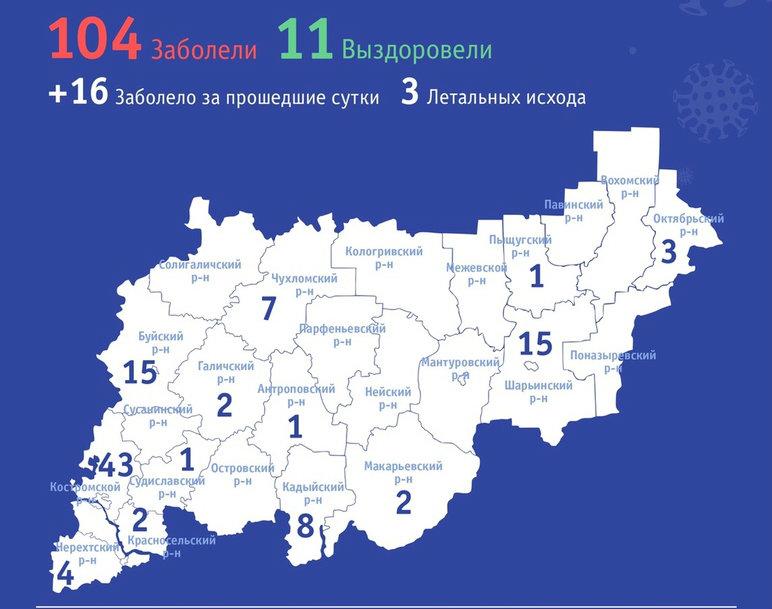 В Костромской области диагностированы первые случаи заражения коронавирусом у трёх жителей с. Боговарово