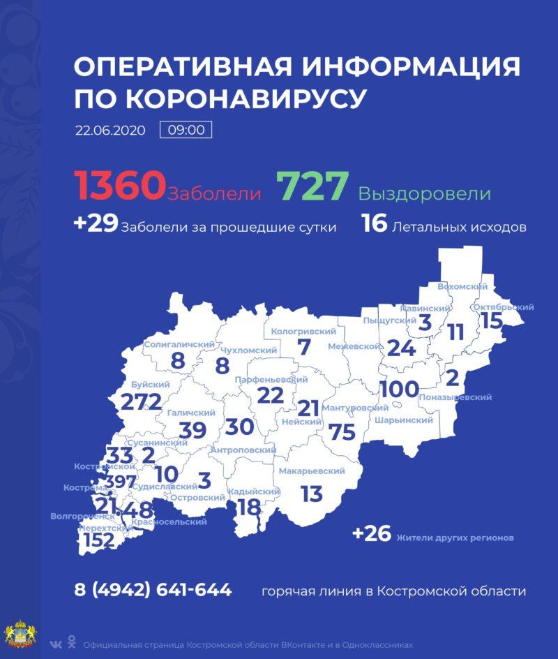 В Костромской области коронавирус подтвержден еще у 29 человек