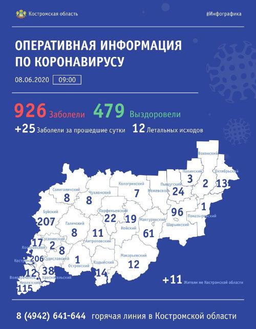Буй, Кострома, Нерехта – города в Костромской области с наибольшим числом заболевших Covid-19